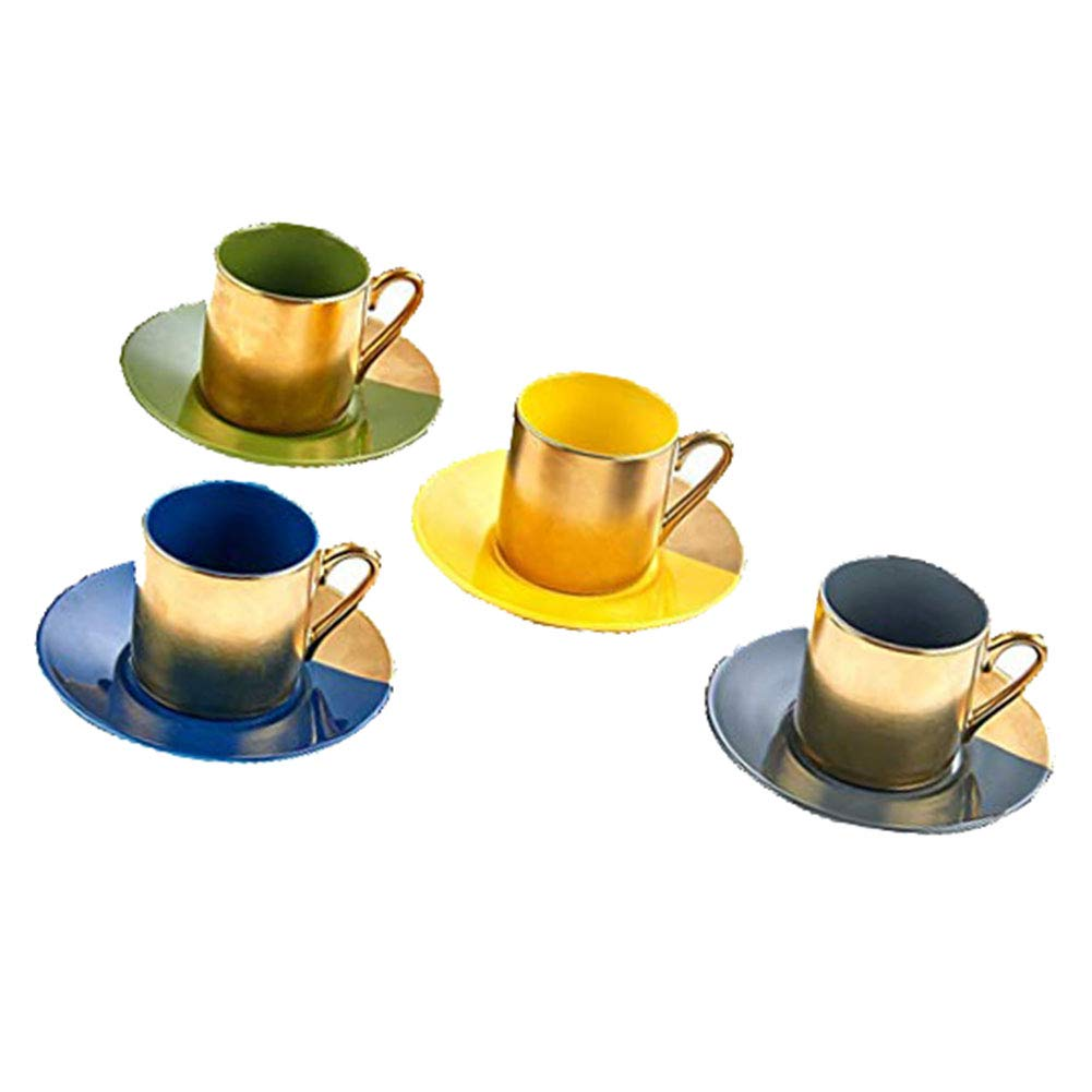 Classic Coffee & Tea Solid Espresso Cups & Saucers (Set of 4) by Yedi Houseware   2 ½ oz Porcelain In Stylish, Pastel Colors with Gold Plated Rims & Handles for an Authentic, Italian Café Feel