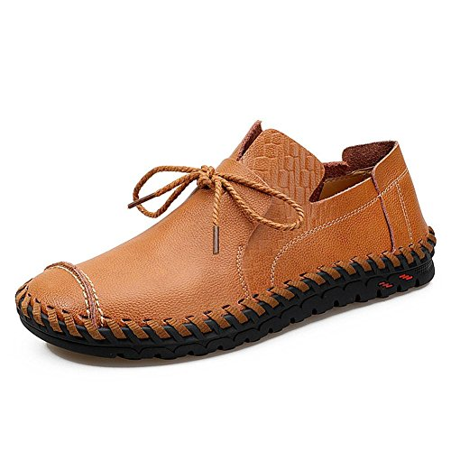 Hombres Oxford Casual Mocasines Cuero Con cordones Hecho a mano Cómodo Moda Ponerse Pisos Negro marrón Conducción Zapatos Negocio Brown