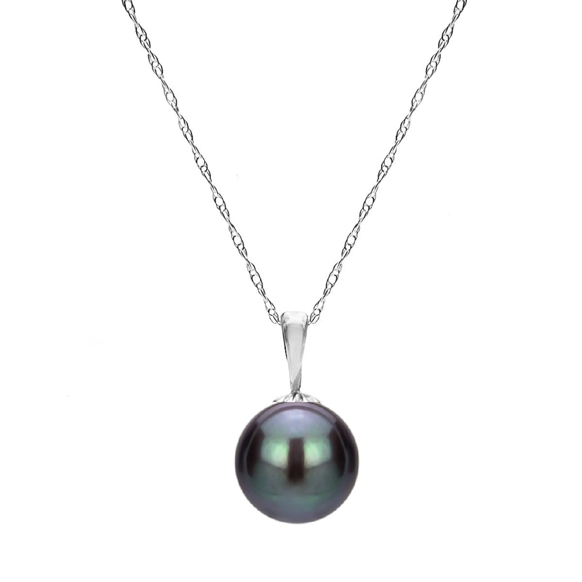 14K White Gold Black Freshwater Cultured Pearl Necklaces for Teen Girls Pendant 18 inch