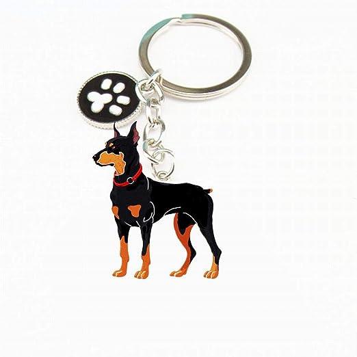 SDGDFXCHN - Llavero de Metal para identificación de Perro, diseño de Perro, Metal, Doberman Pinscher, 50 * 30mm