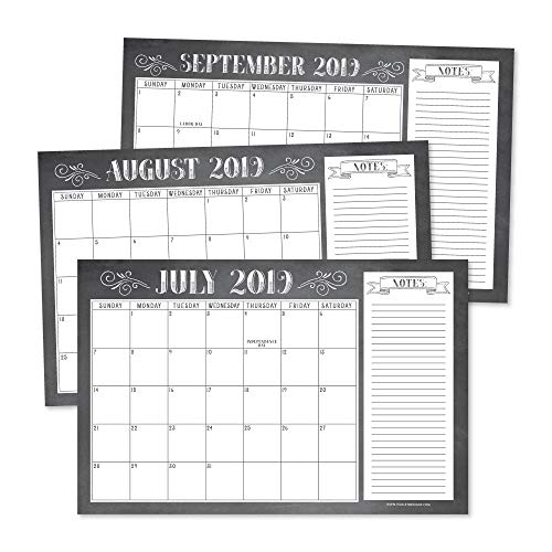 Chalkboard Rustic 2019-2020 Large Monthly Desk or Wall Calendar Planner Big Giant Planning Blotter Pad, 18 Month Academic Desktop, Hanging 2-Year Date Notepad Teacher, Family or Business Office 11x17