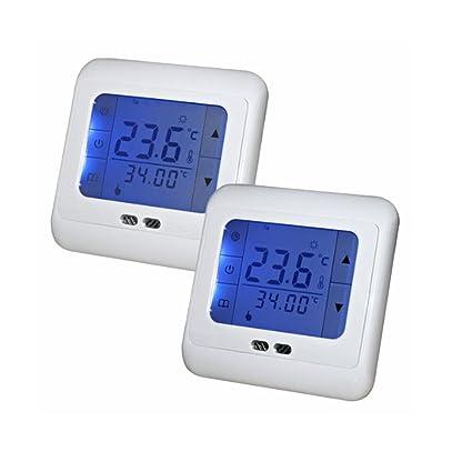SAILUN 2 x Termostato programable digital con pantalla tactil (lectura de temperatura, LCD pantalla