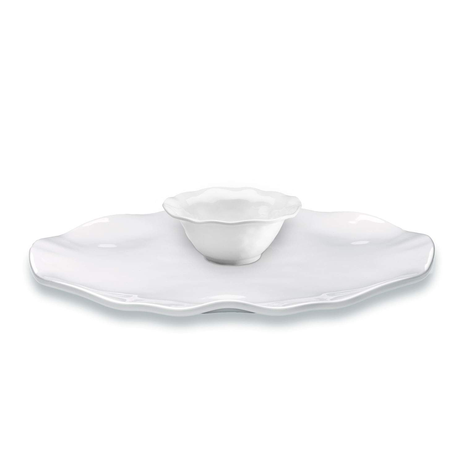 Q Squared Ruffle Round 2-piece Gift Set, Includes 16 inch Round Platter and Matching 5 inch Dip Bowl, BPA-free Melamine, White