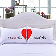 """KSBRO Romantic Couple Pillowcases,Decorative Couples Pillowcases,Girlfriend Gifts, Gifts from Boyfriend, Wife Gifts, 2 Year Anniversary Gifts, Romantic Gifts for Her (50cm x 75cm/20"""" x 30"""")"""