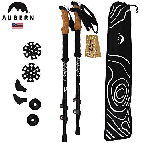 Rei Summit Trekking Poles (Aubern Outdoor Carbon Fiber Trekking Poles - Light weight, Collapsible, Comfortable Cork Grip, with Carry Bag (Black))