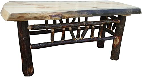 Furniture Barn USA Rustic Pine and Hickory Log Natural Edge Bench Coffee Table- 48 Inch