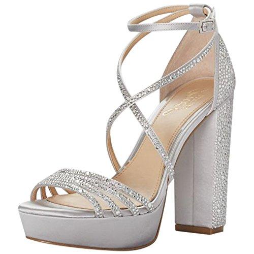e80db07bb65 David s Bridal Crystal-Embellished Strappy Satin Platform Sandals Style  JWTARAH