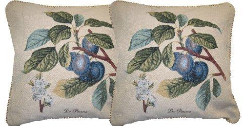 Sugar Plum Bench Seat - DaDa Bedding CC-309 Sugar Plum Visions Woven Cushion Cover, 18 by 18-Inch, Set of 2