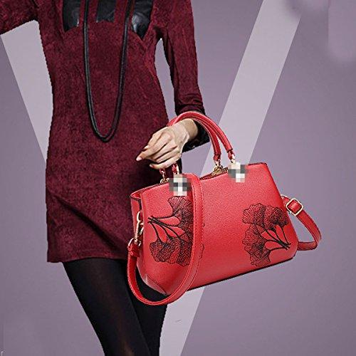 Bolso De Mano De Señora Fashion Impreso Top Handle Bag Pu Bolsa De Hombro De Cuero Para Mujeres Red