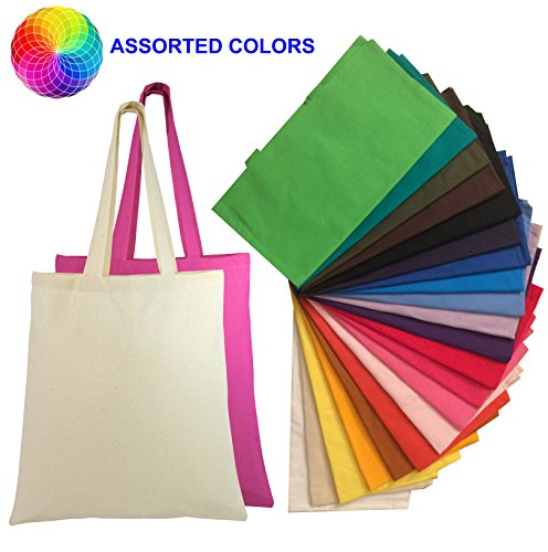 Set Of 24 Blank Cotton Tote Bags Reusable 100  Cotton Reusable Tote Bags  2 Dozen   Aassorted Mix