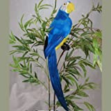 20 Inch Long Colorful Blue Artificial Macaw Parrot Bird for Displays, Commercial Design, and Entertaining
