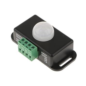 MagiDeal Detector de Movimiento Infrarrojo Automático de Sensor de Movimiento de PIR DC12-24V 5-8M Negro/Blanco - Negro: Amazon.es: Hogar