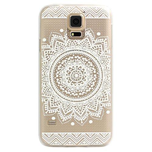 Galaxy S5 Hülle, JIAXIUFEN Plastik Schutzhülle Case Cover Schale Fall Tasche Hülle für Samsung Galaxy S5 Hülle Handytasche HandyHülle Etui Schale - Henna Full Mandala Floral Dream Catcher