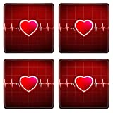 Liili Square Coasters Abstract heart beats cardiogram 29534721