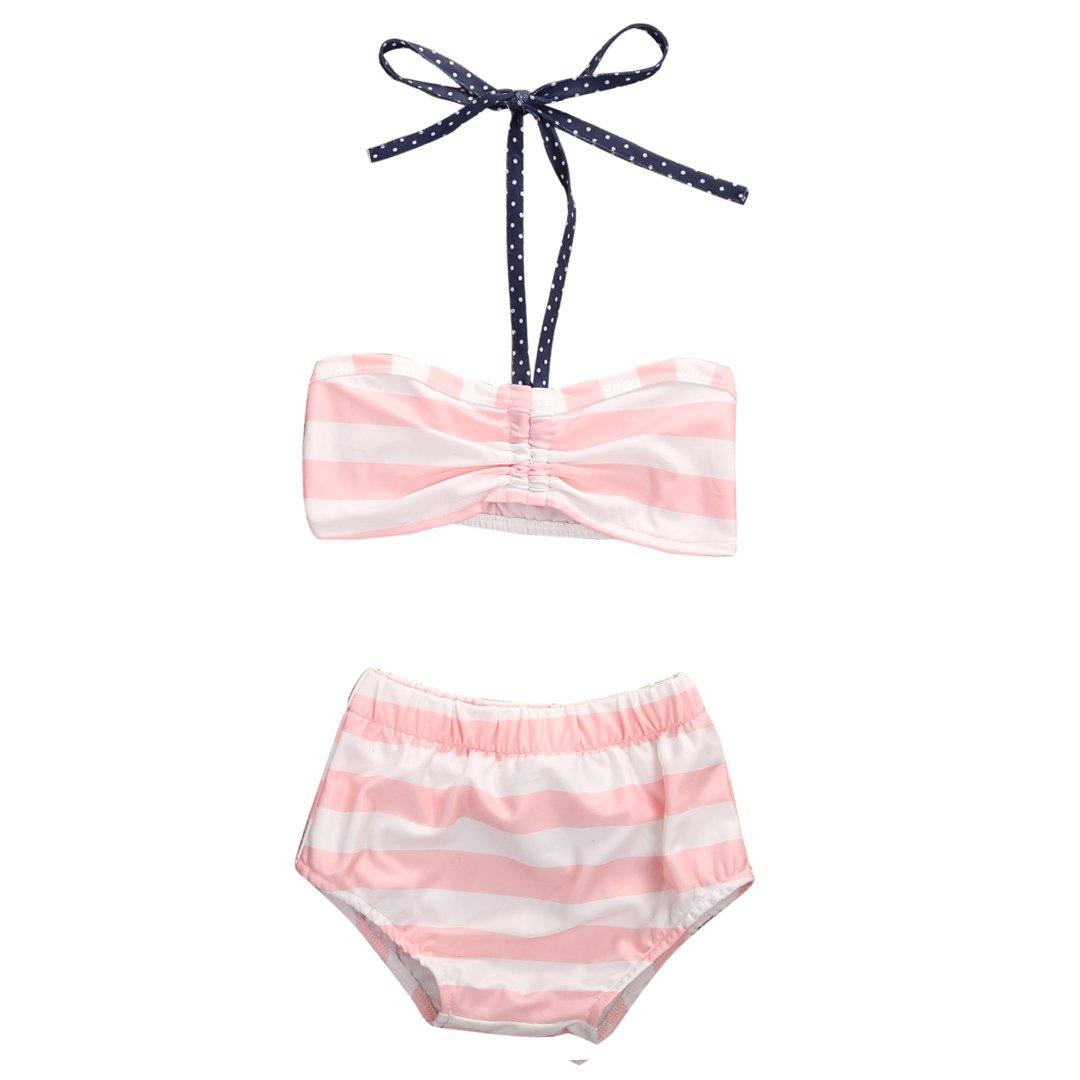 Hirigin Baby Girls 2Pcs Swimwear Bikini Striped Halter Bra Top+Bow Bottom Swimsuit FT16479