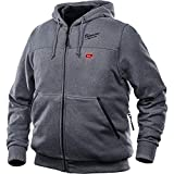 Milwaukee Hoodie M12 12V Lithium-Ion Heated Jacket Front and Back Heat Zones - Battery Not Included - All Sizes and Colors (Large, Gray)