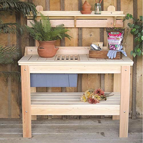(StarSun Depot Wooden Potting Bench Garden Table - Made in USA)