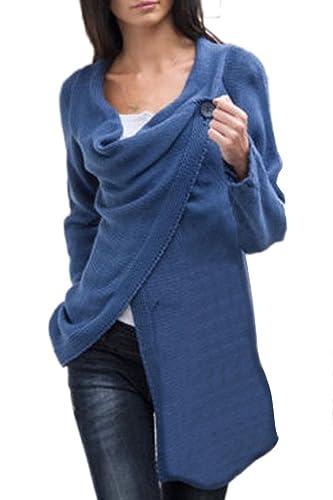 Minetom Mujer Otoño Primavera Cárdigan Casual Suelto Suéter De Punto Capa Dobladillo Irregular Tapas