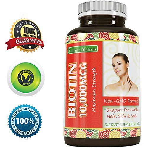 Pure Biotin Supplement – Fight Hair Loss + Strengthen Strands + Promote Growth – Improves Digestion – Good for Skin and Nails – For Men And Women – Natural Vitamins to Stop Thinning Hair -