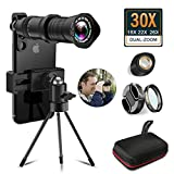 30X Cell Phone Camera Lens, 18X to 30X Adjustable Dual Focus Telephoto Zoom Lens HD 4K, Free UV Lens Detachable Clamps Strong Tripod for iPhone XR,XS MAX,XS,X,8,7,6,6s Plus Smartphone