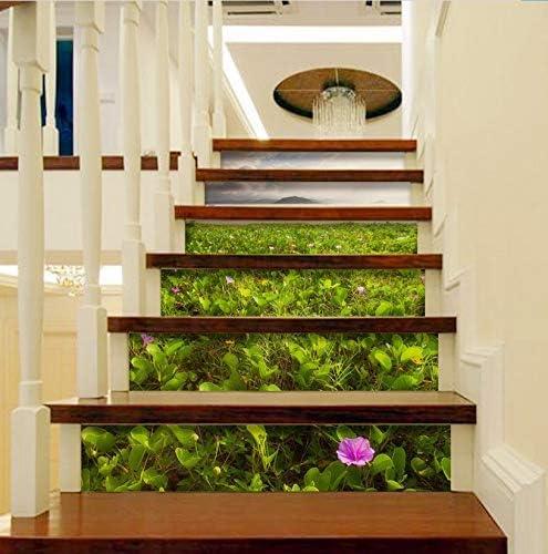 3D Creativo Escaleras Puerta Puerta Autoadhesiva Murales Etiqueta de la Habitación de la Pared Etiqueta de la Escalera Decoración Del Hogar Patrón Moderno Minimalista Novela 18 X 100 cm 6 Piezas /