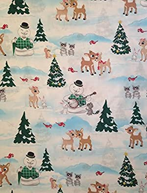 1 Yard - Features Rudolph and Clarice on an ice pond with the Snowman Narrator and other woodland animals. Cotton Fabric (Great for Quilting, Craft Projects, Quilt, Throw Pillows & More) 1 Yard X 44