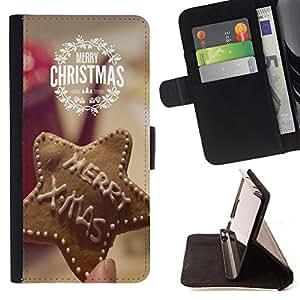 King Case - FOR Samsung ALPHA G850 - Merry Christams - Prima caja de la PU billetera de cuero con ranuras para tarjetas, efectivo Compartimiento desmontable y correa para la mu?eca