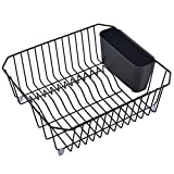 DESCRIPTION Dish rack: Length 16.5″, Wildth 14″, Height 5.2″ Include a black rack and a black cutlery bin Strong steel wire, durable and rust proof Special design for draining water from dishes 1 year warranty and 30 days money back gu...