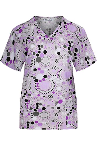 (MedPro Women's Printed Short Sleeve Mock Wrap Medical Scrub Top Black Lilac XS)