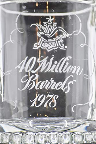 Logo Etched Collectible Glass - 1978 - BMF Beer Steins/W. Germany - Anheuser-Busch Logo & 40 Million Barrels - Etched on Stein - w/Pewter Lid - Very Rare - Collectible