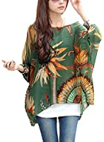 iNewbetter Womens Floral Batwing Sleeve Beach Loose Blouse Tunic Tops