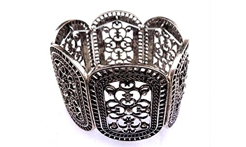 (Retro Classic Victorian Era Antique Silver Stretch Bracelet Etched with a Scrolling Floral Motif)