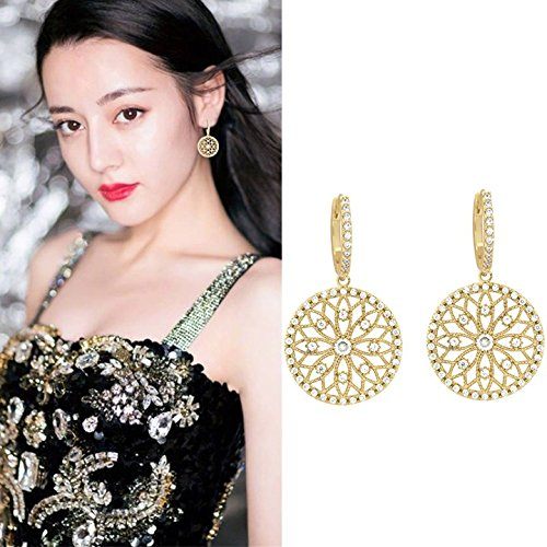 Super cents hollow diamond vintage disc delicate earring women girls star elegant necklace pendant Japan and South Korea ()
