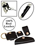 Tangle-Free Leather Earphone Organizer Cord Keeper Portable Earbud Manager Handmade Headphone Wrap Keychain Keyring and Travel USB Charging Cable Ties Durable Reusable Wire Winder (Black Set of 4)