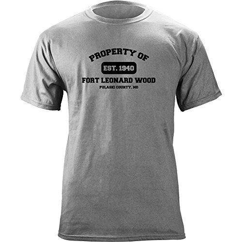 Brigade Fitted T-shirt - Original Army Base Property of Fort Leonard Wood Veteran PT T-Shirt (XL, Heather Grey)