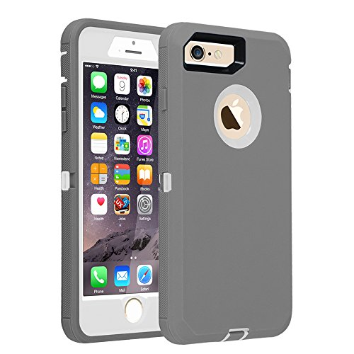 iPhone 7/8 case, [Heavy Duty] Armor 3 in 1 Built-in Screen Protector Rugged Cover Dust-Proof Shockproof Drop-Proof Scratch-Resistant Tough Shell for Apple iPhone 7 4.7 inch Gray