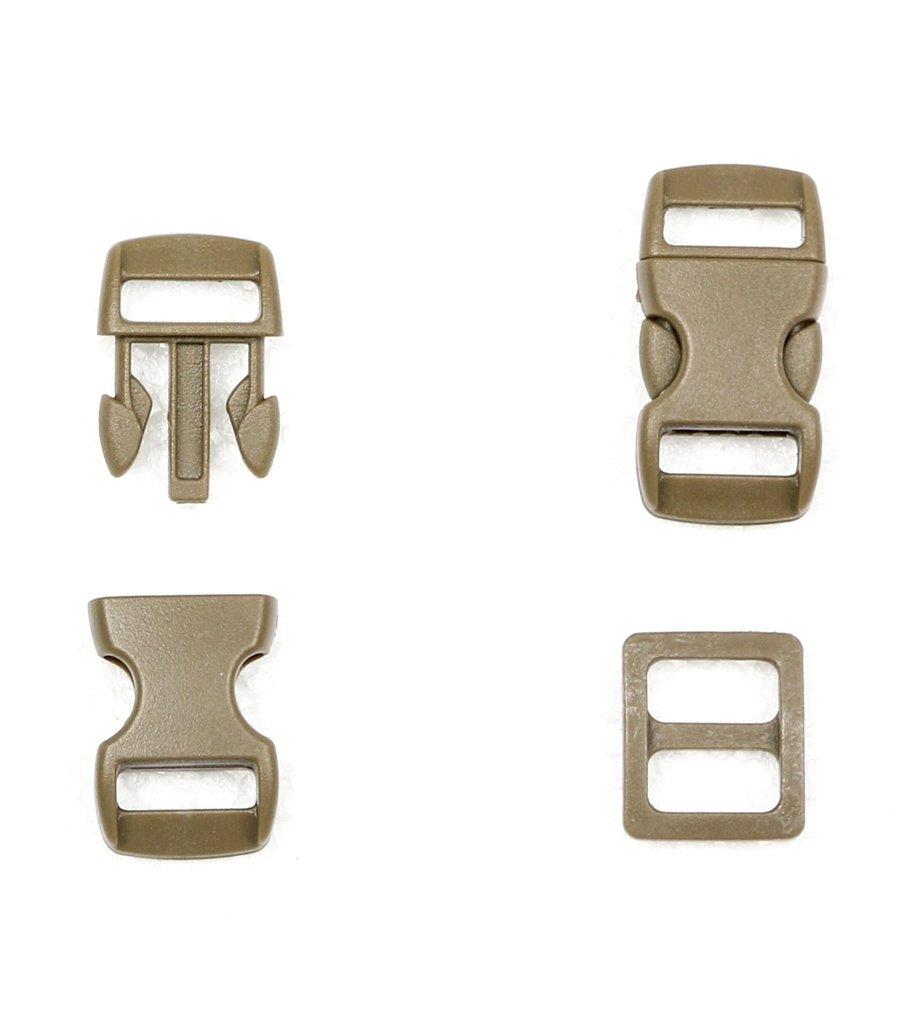 10PCS Contoured Side Release Plastic Buckles And 10 Plastic 3 Bar Slides Buckles, Khaki (10mm) BDXJMYYXGS