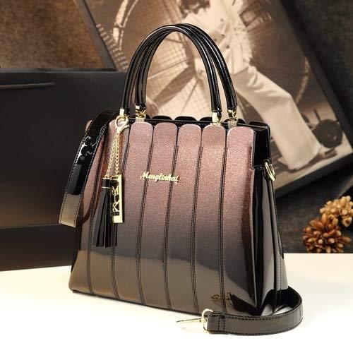 ICEV 高級ハンドバッグの女性のバッグデザイナーブランド女性レザーハンドバッグ大容量 panelled パテントレザーの女性のショルダーバッグ B07N8HZ1MG ローズピンク 40cm
