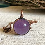 Crystal Ball Purple Amethyst Crystal Pendant Necklace Boho Stone Sphere Layering Jewelry for Women