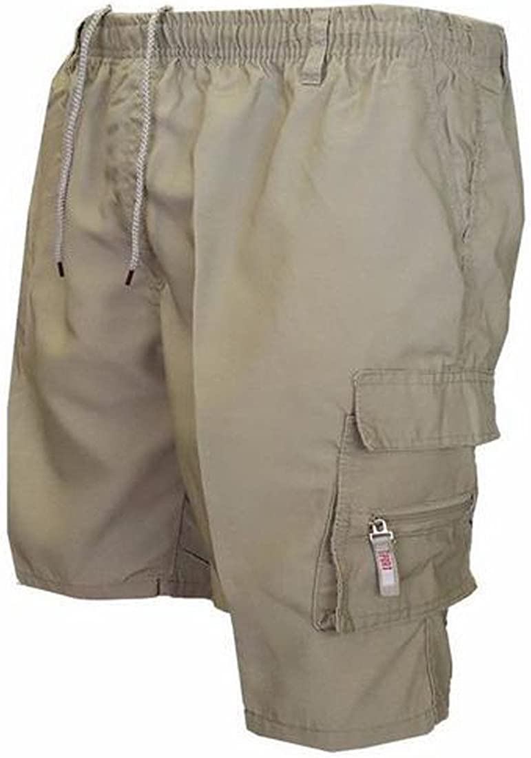 C/&H Men Cotton Workout Baggy Ripstop Multi-Pocket Elastic Waist Drawstring Cargo Shorts