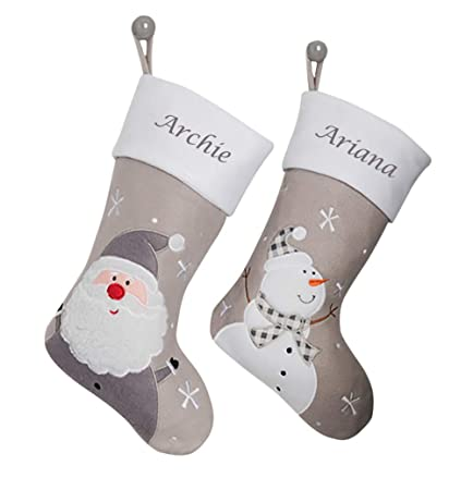 Grey Christmas Stockings Personalised.Hoolaroo Personalised Embroidered Christmas Stocking Boot Sock Xmas Deluxe Silver Snowman Christmas Traditional 45cm