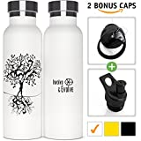 Insulated Water Bottle With Straw + 2 BPA Free Sports Tops. Double Walled Vaccum Insulated Stainless Steel Eco Friendly Sweat Proof Powder Coated 20 oz White Thermal Water Bottle