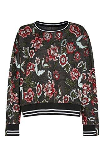 next Mujer Sudadera Camiseta Manga Larga Cuello Redondo Diseño Jacquard Flores Rojo