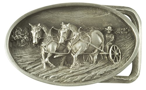 Draft Horses Buckle - Solid Pewter W
