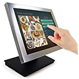 "Angel POS Silver Metal Frame 15"" Touch Screen POS TFT LCD TouchScreen Monitor with Adjustable POS Stand for Retail Restaurant Bar Pub Kiosk"
