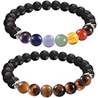 "2 FOR 1 Lava Rock Bead Essential Oil Diffuser 7 Chakra Healing Bracelet Gemstone Tigers Eye Combo Stretch Bracelet Health Wellness Fits Most 7.5-8.5"" Unisex 60 Day Satisfaction Guarantee 2 Bracelets"