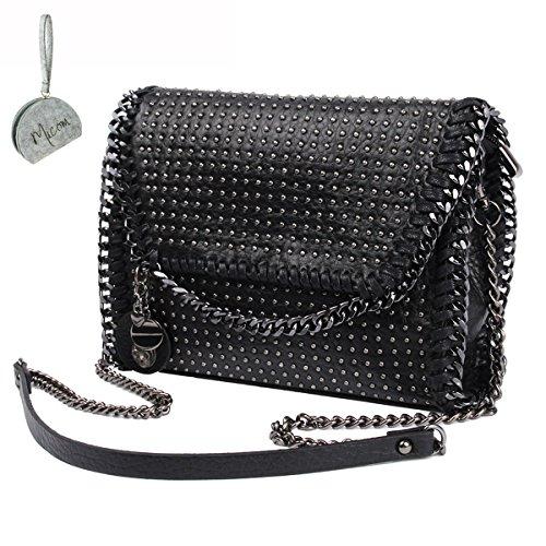 Women Leather Punk Skull Rivet Shoulder Bag Handbag - 7