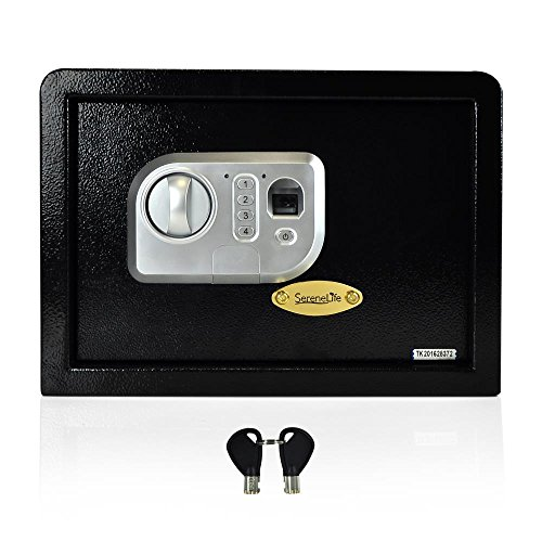 SereneLife Safe Security Box Electronic Fingerprint Lock Digital Home Combination Steel Alloy Drop Includes Keys-SLSFE18FP, 13.8