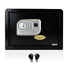 SereneLife Safe Box | Fire Safe Box | Safes And Lock Boxes | Fireproof Lock Box Safe | Digital Safe Box | Home Safe Box | Combination Safe Box | Steel Alloy Drop Safe - Includes Keys (SLSFE18FP)