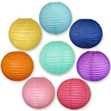 Just Artifacts Tropical Themed Paper Lantern Set - (12-inch, Tropical Themed, Set of 8) - Chinese/Japanese Hanging Paper Lantern Decorations - Paper Lanterns Perfect for your Summer Pool Party!